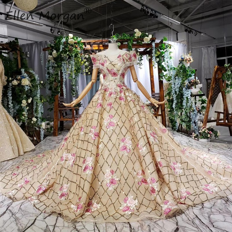 Saudi Arbian Colorful Gold Wedding Dresses Puffy Glitter 2019 Elegant Boat Neck Sleeveless Applique Princess Bridal Ball Gowns