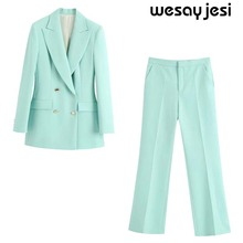 England style office lady solid color women's suit sets 2020