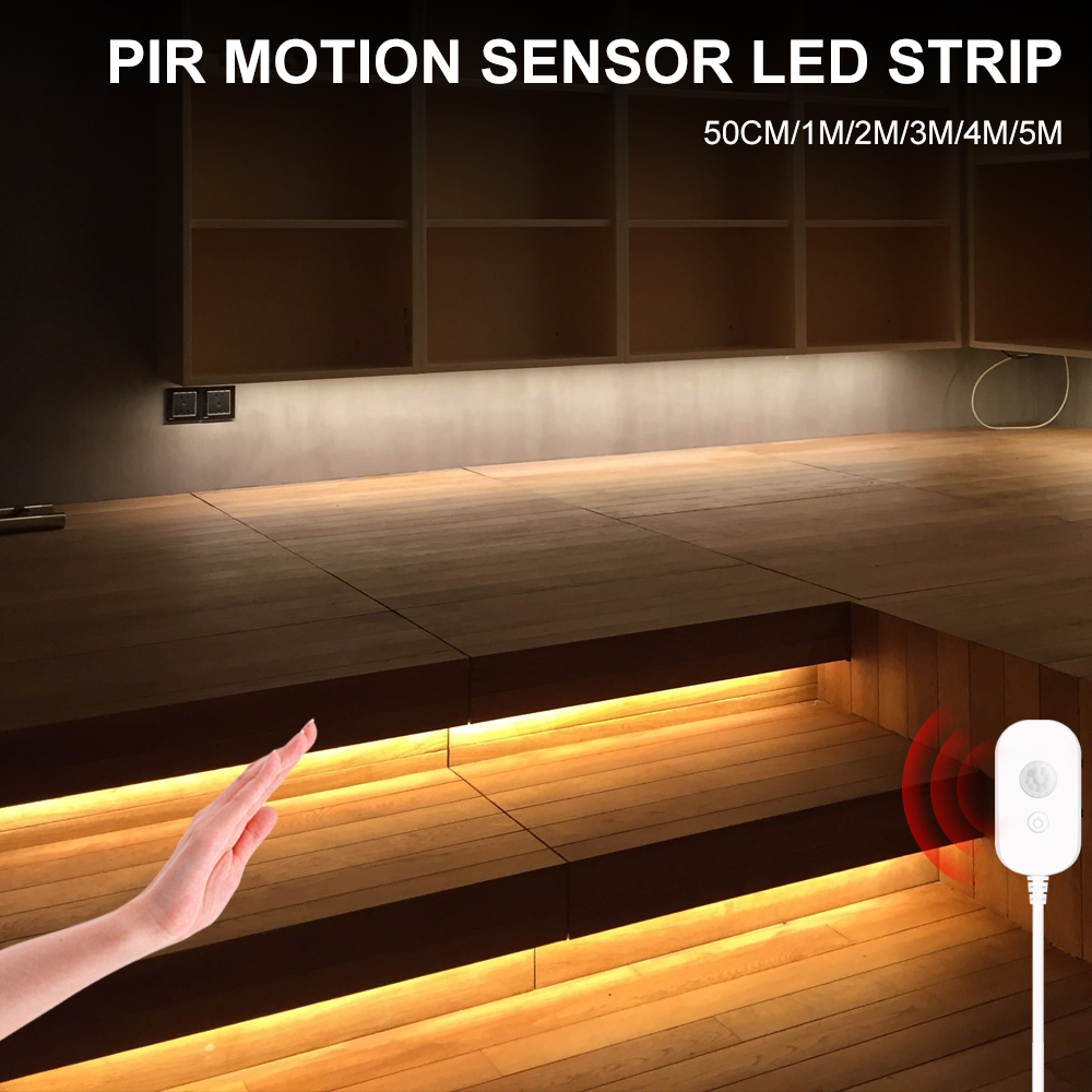 Sensor de movimiento PIR interruptor de tira de luz de noche luz LED armario de cocina armario lámpara de dormitorio luces inalámbricas USB rayas Led