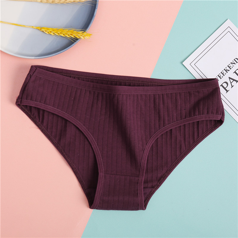 H48b0355be34c4a97b69af944aaf78be5e Ropa interior de algodón suave para mujer, calzoncillos de colores sólidos a rayas, lencería Sexy para mujer, M-XL íntima