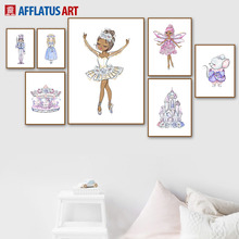 Cartoon Ballet Girl Princess Castle Elf Mouse Wall Art Canvas Painting Nordic Posters And Prints Pictures Kids Room Decor