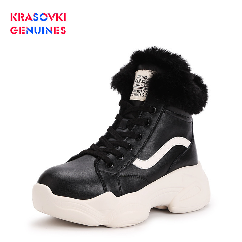 Krasovki Genuines Snow Boots Round Toe Winter Dropshipping Fashion Plush Lace Cow Leather Thick Bottom Solid Causal Women Boots