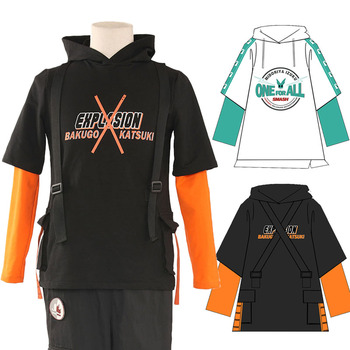 Anime My Hero Academia Sweatshirt Hoodie Boku no Hero Academia Fake 2 Pieces Long Sleeve Outwear Casual Coat