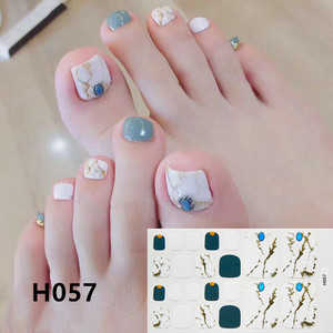 Image 5 - 1Sheet Adhesive Toe Nail Sticker Glitter Summer Style Tips Full Cover Toe Nail Art Supplies Foot Decal for Women Girls Drop Ship