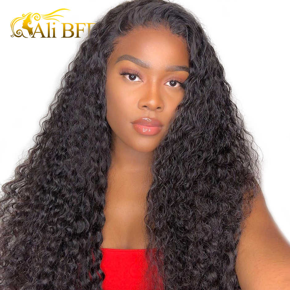 Water Wave Wig 13x4 13X6  Lace Front Human Hair Wigs Pre Plucked For Women ALI BFF Brazilian Remy Lace Front Wig