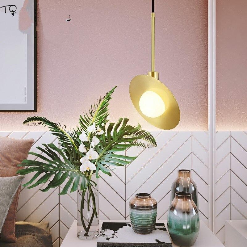 Nordique moderne luxe cuivre soucoupe volante pendentif LED lumières saturne Simple tête Luminaire Suspendu Restaurant Bar chambre