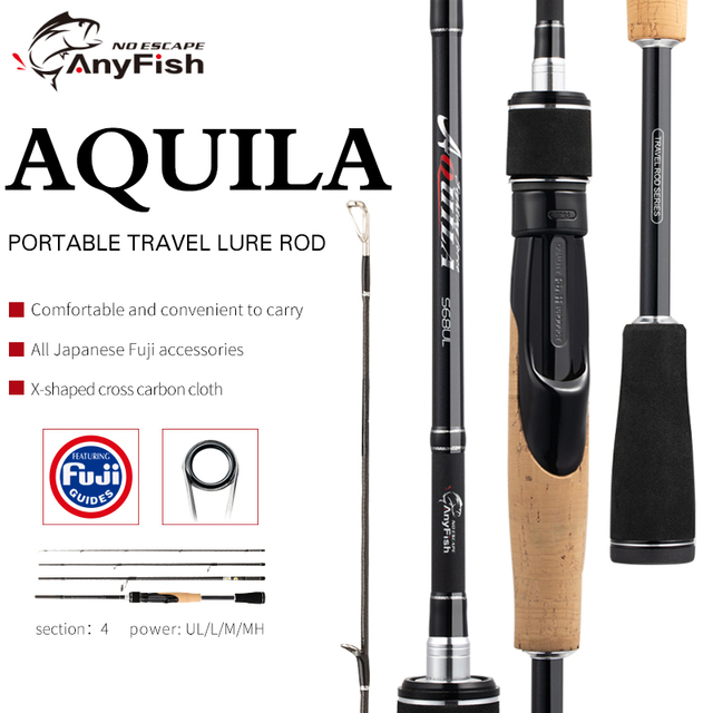 ANYFISH AQUILA Travel Fishing Rod Spinning Carbon lure rod UL/L/M/MH Power 1.83M/1.92M/2.01M/2.07M/2.13M Fast Action spinning