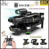 WLRC NEUE KAI ONE PRO MAX 8K Drone GPS Professionelle HD Dual Kamera 3-Achsen Gimbal Bürstenlosen Motor RC Quadcopter 1,2 km Spielzeug für jungen
