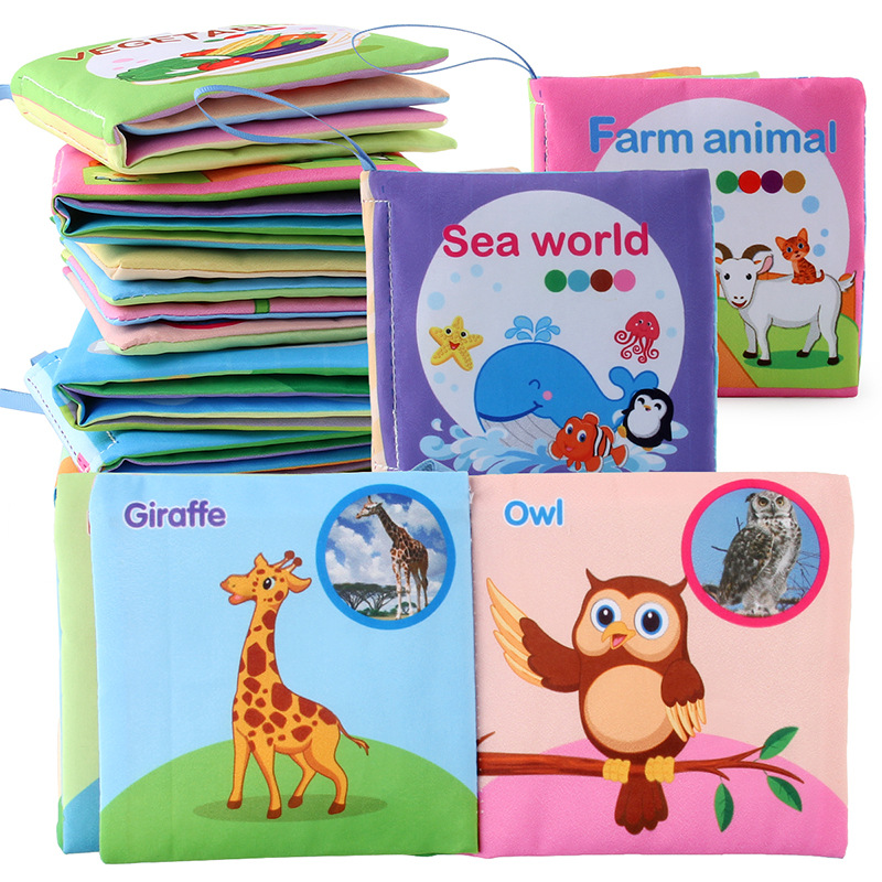8 Pages Baby Cloth Book Soft Animal Shower Book Toy Newborn Stroller Hanging Washable Toy Early Learning Educational Baby Toys