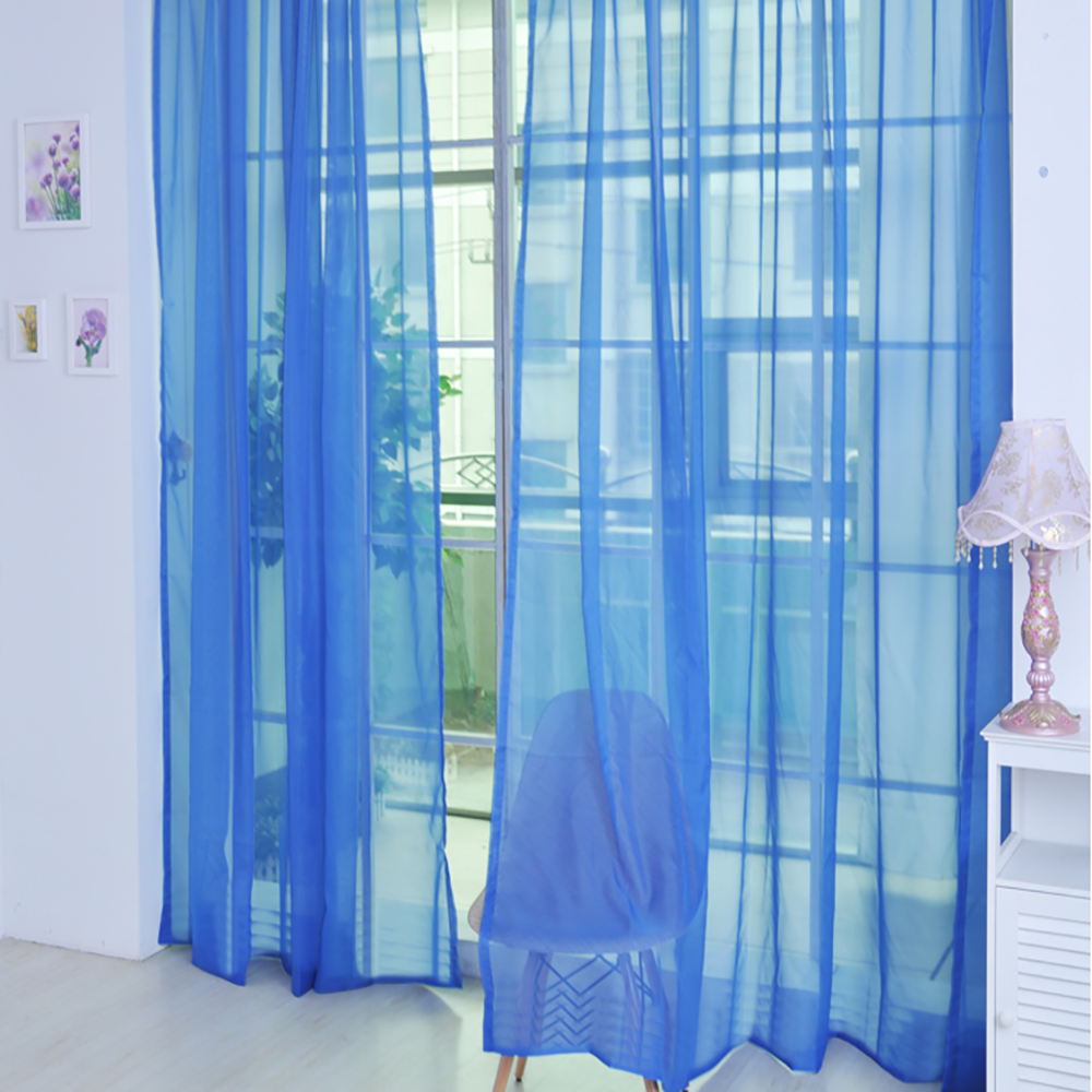 1 PCS Pure Color Tulle Door Window Curtain Drape Panel Sheer Scarf Valances Room Curtains For Modern Bedroom Living New