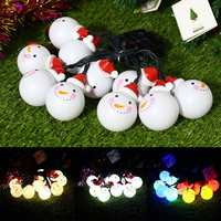 3.5M LED Snowman String Light Solar Fairy Lighting String Ball Waterproof White Snowman Outdoor for Christmas Holiday Decoration
