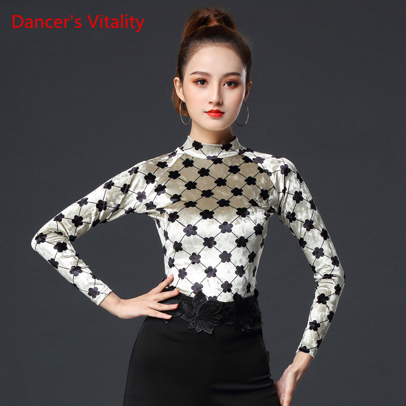 Latin Dance Clothes New Female Adult Sexy Top Long Sleeve Ballroom Dance Competition Practice Clothing Velvet Shirt
