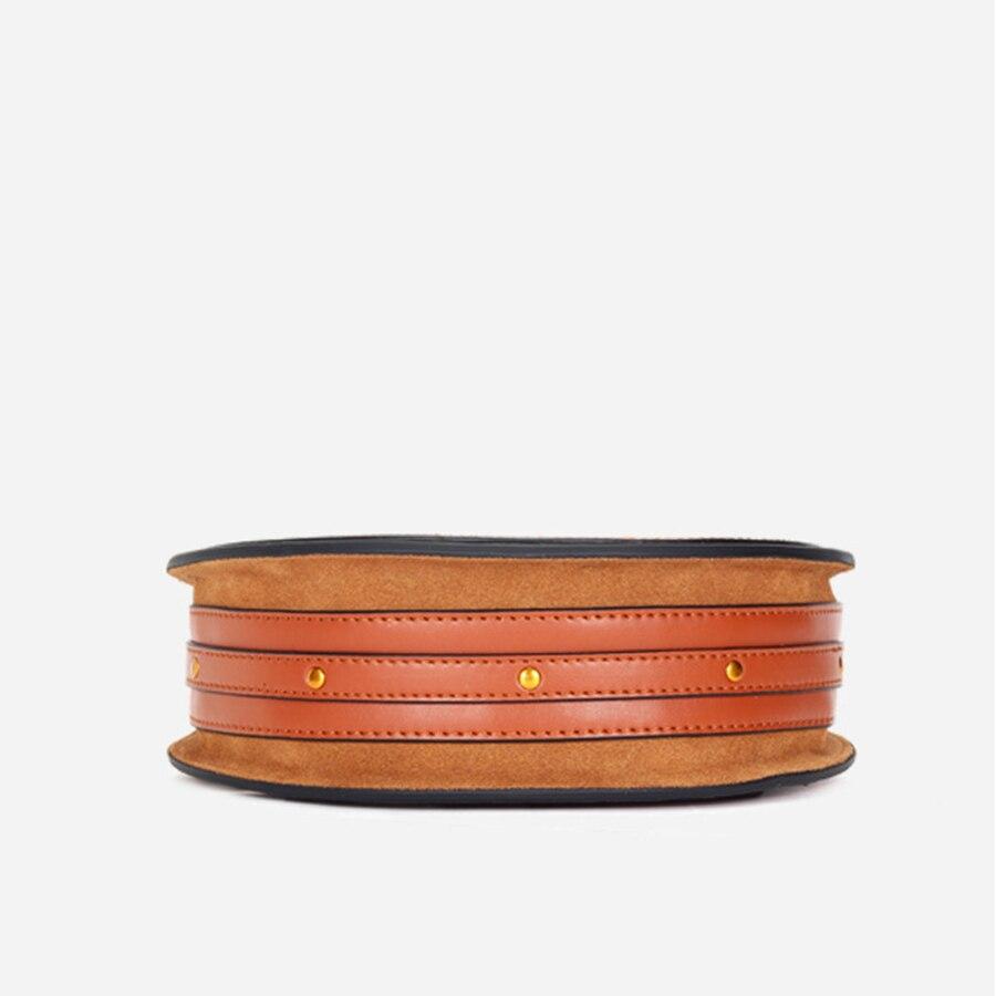 Bolso de cuero genuino para mujer, pequeño bolso redondo, bolso bandolera, bolso elegante para mujer KG280 - 6