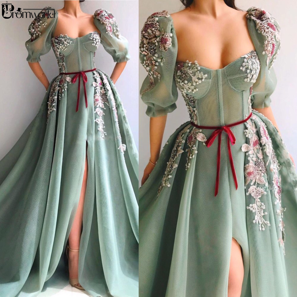 Mint Green Muslim Evening Dress 2020 Half Sleeves High Slit Lace Beaded A-Line Dubai Arabic Evening Gowns Prom Dresses Long