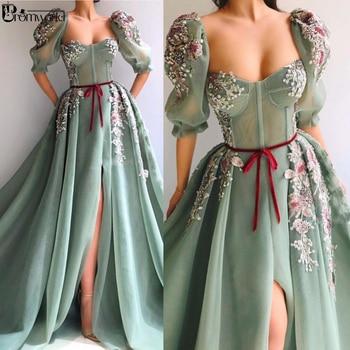 Mint Green Muslim Evening Dress 2020 Half Sleeves High Slit Lace Beaded A-Line Dubai Arabic Evening Gowns Prom Dresses Long