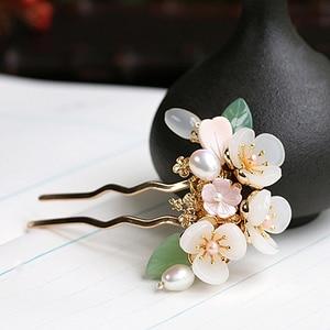 Image 3 - ทองแดงน้ำจืด Pearl Hair Pins อัญมณีหินผม PIN ดอกไม้จีน Hairpin งานแต่งงานอุปกรณ์เสริมผม Pince Cheveux WIGO1359