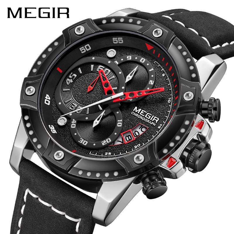 MEGIR Mens Watches Top Brand Luxury Wrist Watch Man Fashion Waterproof Chronograph Sports Watches Quartz Wristwatch Reloj Hombre