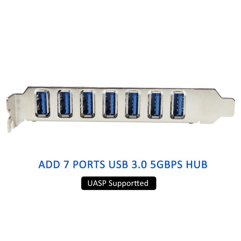 with Molex Power Connector NEC Host Controller Alician PCIE 7 Port USB 3.0 Adapter Card 7 External Ports