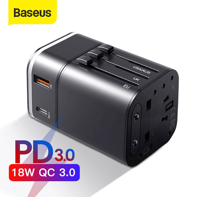 Baseus 18W Quick Charge 3.0 USB Charger Travel Adapter with PD3.0 Fast Phone Charger Global Conversion Charger Worldwide Adapter