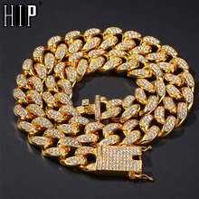 Hip Hop 1Set 20MM Gold  Full Iced Out Paved Rhinestones Miami Curb Cuban Chain CZ Bling Rapper Necklaces For Men Jewelry