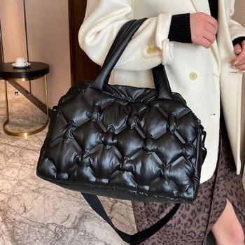 Space Cotton Women's Shoulder Bag Down Cotton Crossbody Bags for Women 2021 Large Capacity Fluffy Cotton Totes Women Handbag New