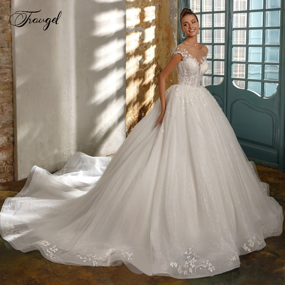 Traugel Scoop A Line Lace Wedding Dresses Glitter Appliques Beadings Cap Sleeve Backless Bride Dress Cathedral Train Bridal Gown