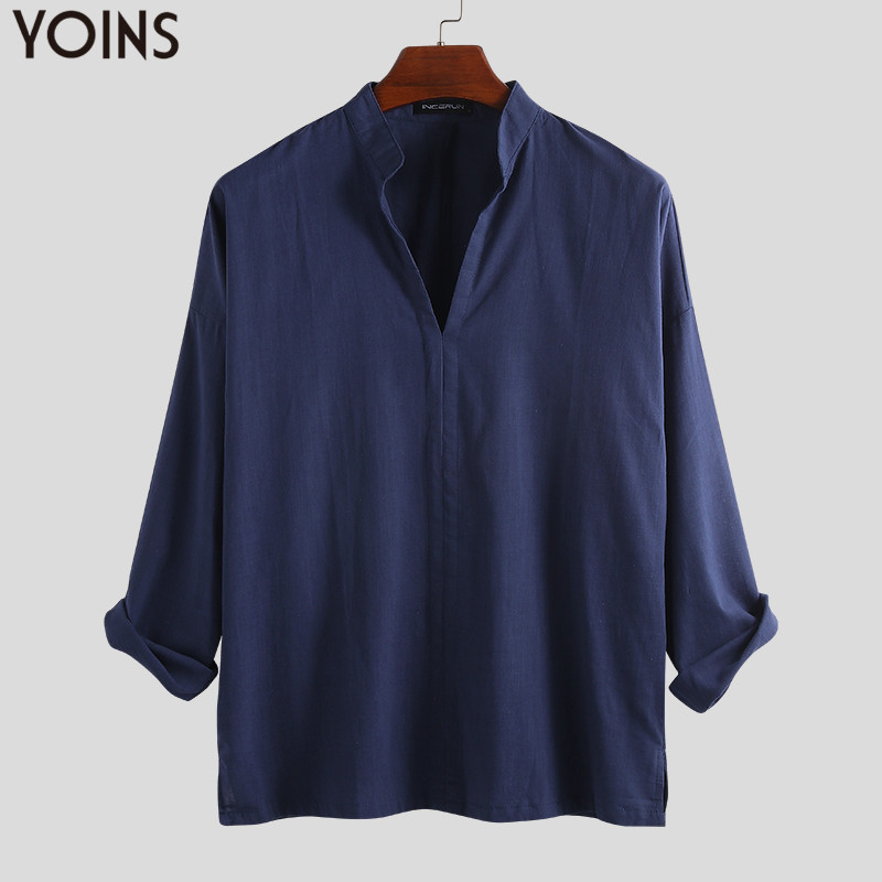 YOINS 2019 Casual Shirts Cotton Linen Men Shirt Long Sleeve Spring Summer Leisure Shirts Vintage Retro Chinese Style Men Clothes