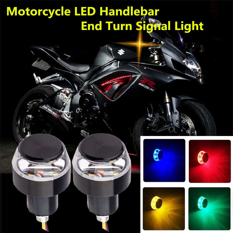 2pcs DC 12V Motorcycle LED Handlebar End Turn Signal Light White Yellow Flasher Handle Grip Bar Blinker Side Marker Lamp