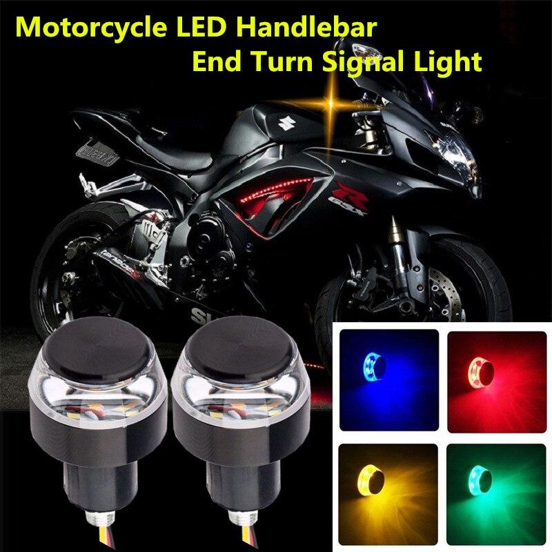 2pcs DC 12V Motorcycle LED Handlebar End Turn Signal Light White Yellow Flasher Handle Grip Bar Blinker Side Marker Lamp
