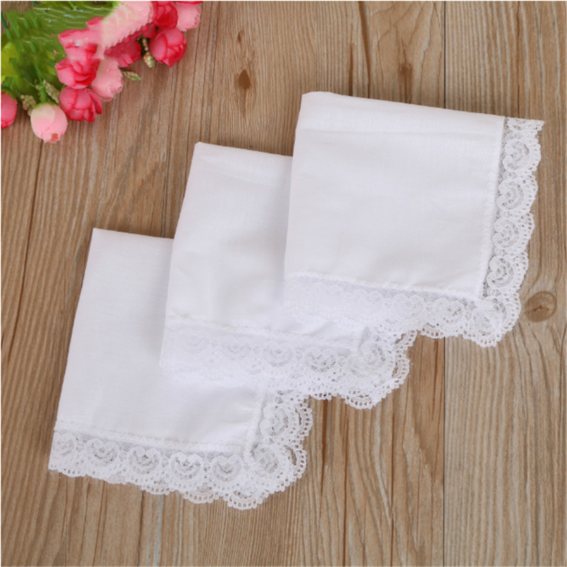White Cotton Handkerchiefs Blank Lace Hankies For Wedding Pocket Square For Men & Women Casual Hanky 25x25cm