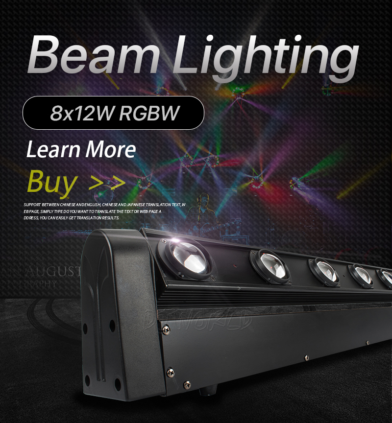 Luz con cabezal móvil LED Bar 8X12W RGBW 4IN1 LED con 10/38 haz de luz DMX Dj luces mejor para discoteca DJ fiesta de cumpleaños de baile de la boda