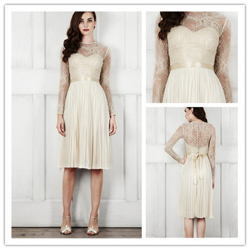 MANSA Robe De Mariee 2018 Short The Brides Sexy Lace A Line Full Sleeve Fashionable Vestido De Novia Mother Of The Bride Dresses