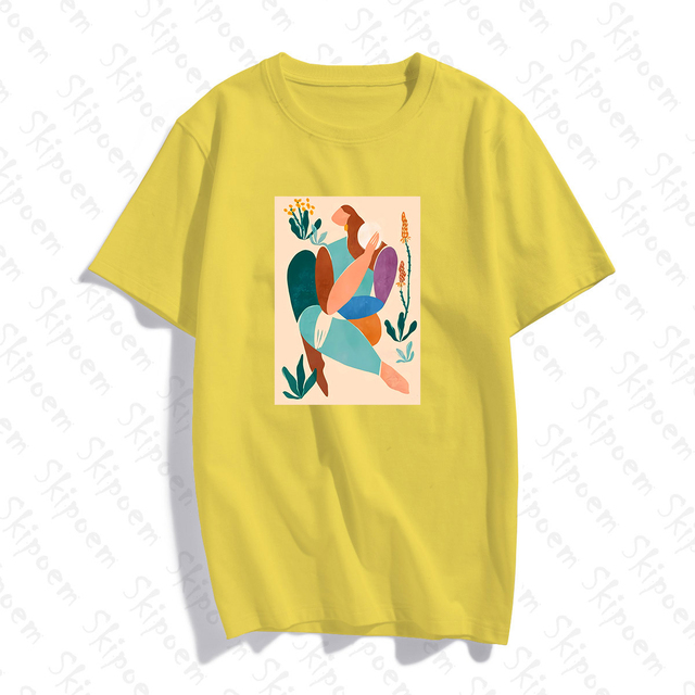 Abstract Art Woman With Green Plants T-shirt Women Vintage Aesthetic 8 Colors Short Sleeve Cotton Tee Shirt Femme Summer Tops 2