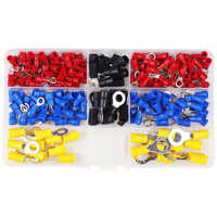200pcs RV Electrical Ring Terminal Crimp Connector Kit Set With Box,Copper Wire Insulated Cord Pin End Butt
