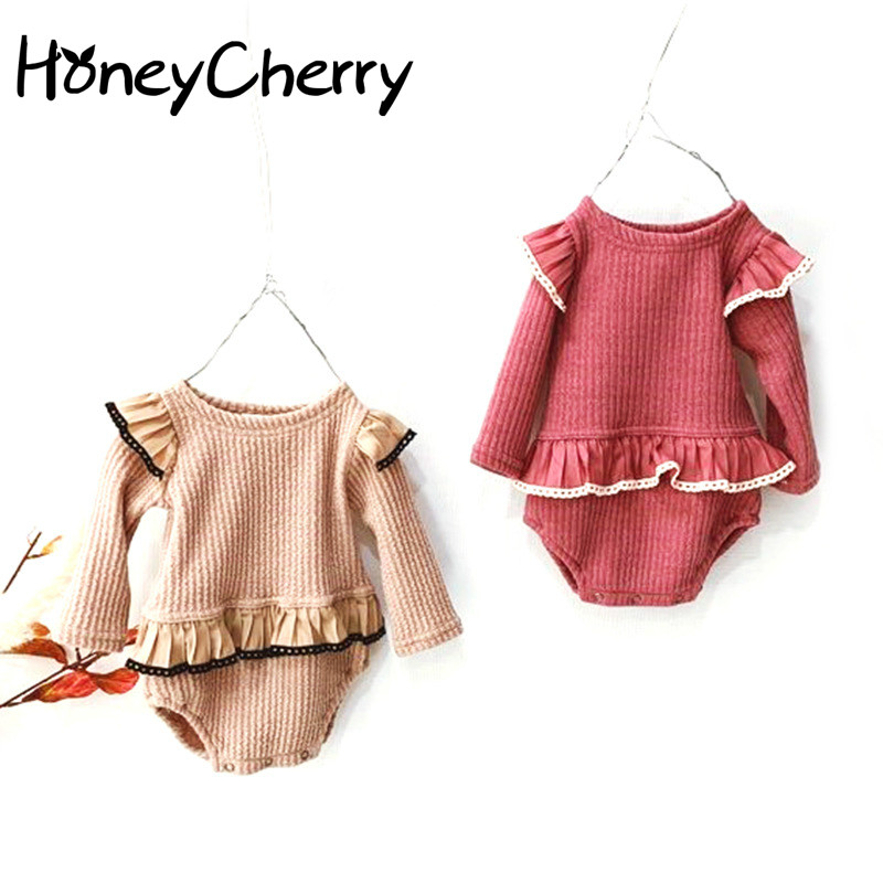 2020 Baby Bodysuit Spring And Autumn Cotton Clothes Princess Lace Round Neck Long Sleeve Hardcoat With Hat