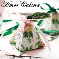 50pcs Flamingo Forest Green Leaf Flower Pyramid Wedding Like Candy Box Chocolate Gift Box Ribbon Label Party Supplies