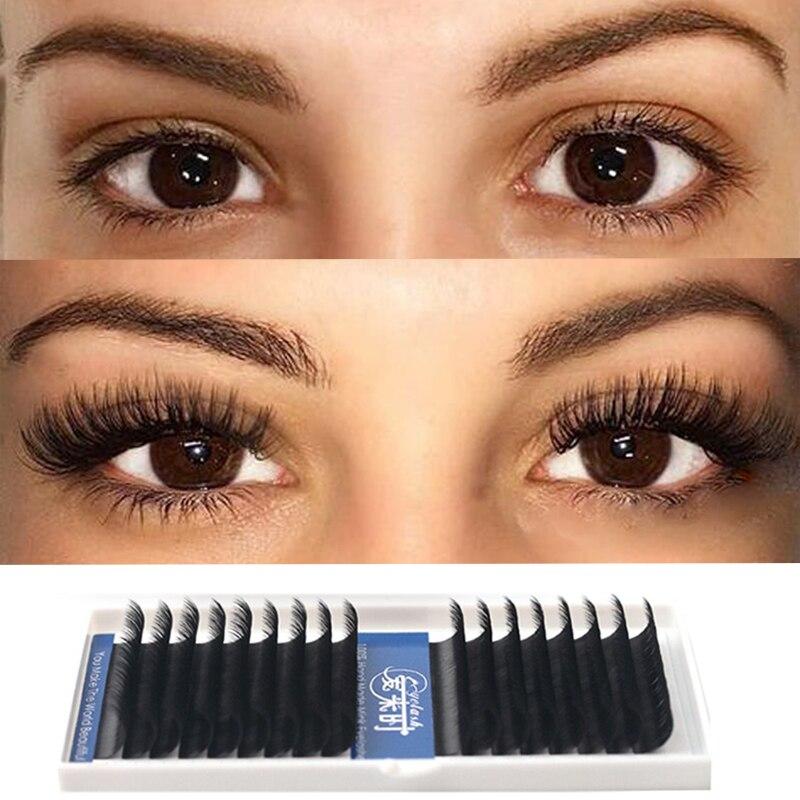 16ROWS Eyelash Extension Cilios Faux Mink Individual Eyelash Extension Silk Volume Soft Eyelash Natural Lash Professional Makeup