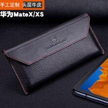 Coque de téléphone fait main en cuir véritable housse de sac à rabat pour huawei Mate X peau de protection magnétique pour huawei Mate XS MateXS