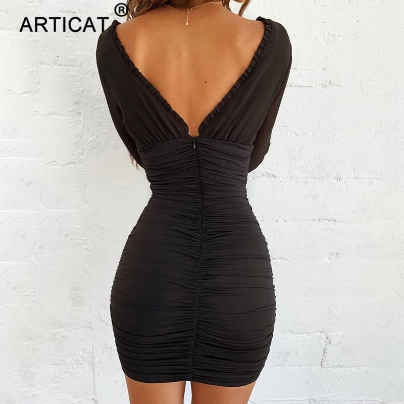 Articat Chiffon Summer Autumn Dress Women 2020 Sexy Long Sleeve Slim Elastic Bodycon Bandage Dress Short