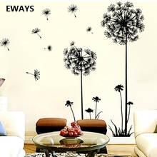 EWAYS Hot Black Dandelion sitting Room Bedroom Wall stickers Household Adornment wall on The