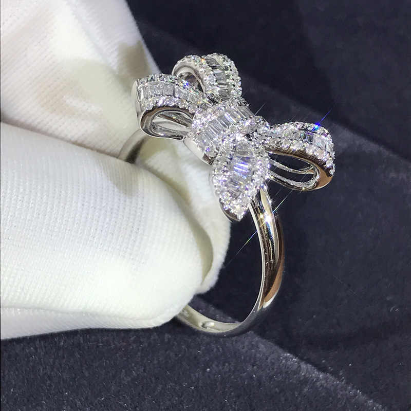 Luxury Female Ladies Big Bowknot Ring Crystal Elegant Silver Color Wedding Rings For Women Unique Style Promise Engagement Ring