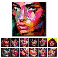 Handpainted Oil Paintings knife Face Picture Sex Women Photo Image Sex Hot Beautiful Girl Oil Painting Hand Painted Artwork