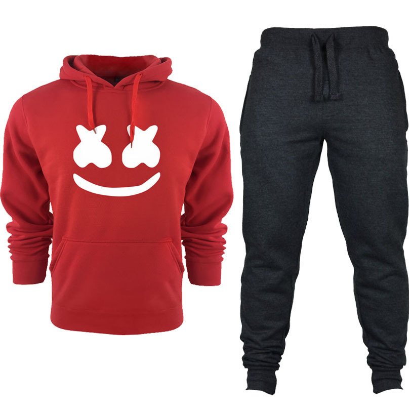 2019 New Style Men Leisure Set-Style Printed Solid Color Hoodie Casual Gymnastic Pants Set