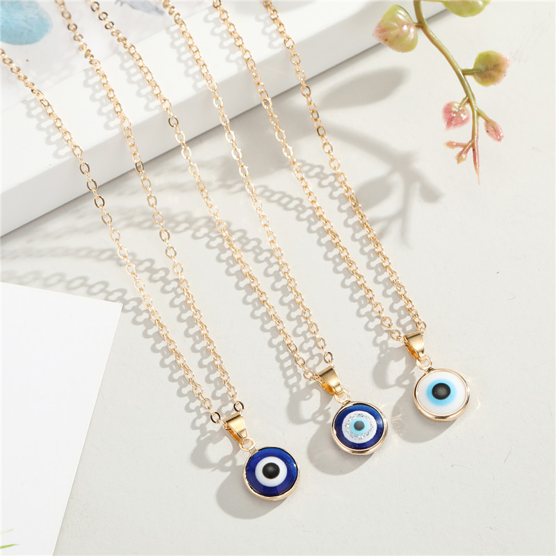 1PC Vintage Ethnic Round Turkey Evil Eye Necklace For Women Gold Color Blue Eye Pendant Choker Clavicle Chain Turkish Jewelry