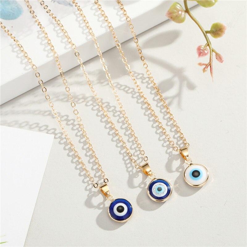 Ожерелье женское круглое в этническом стиле, Винтажное колье под турецкий глаз с индейкой и злом, цвет золото, цвет кулон с голубыми глазами,...