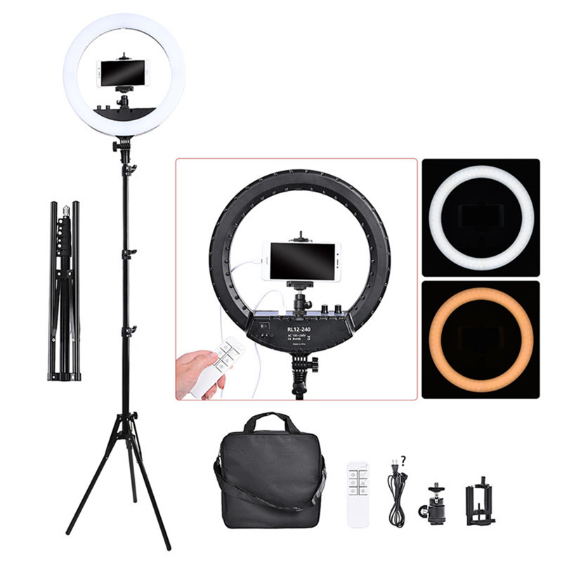 Fusitu FT-240RL 14 inch Dimmable Bi-color 3000-6000K LED Ring Light With Stand Tripod Ring Lamp For Camera Phone Photo Studio