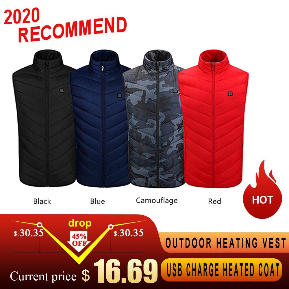 Уличная нагревательная жилетка с USB зарядкой, нагревательная куртка с электрическим подогревом, жилетка из углеродного волокна, одежда для ...