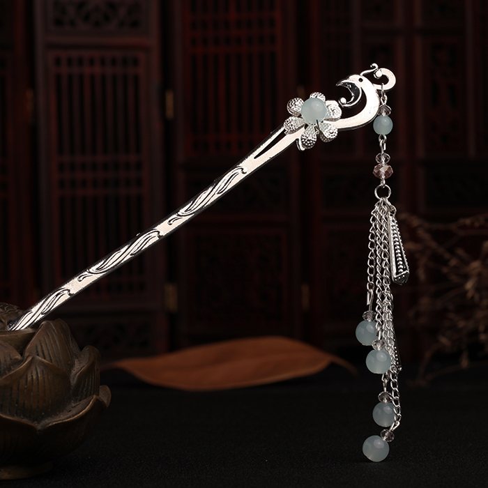 Retro Hairpin Hair Accessories Cheongsam Hanfu Hairpin Chinese Style Handmade Kanzashi Classical Tassel Ancient Step Shake