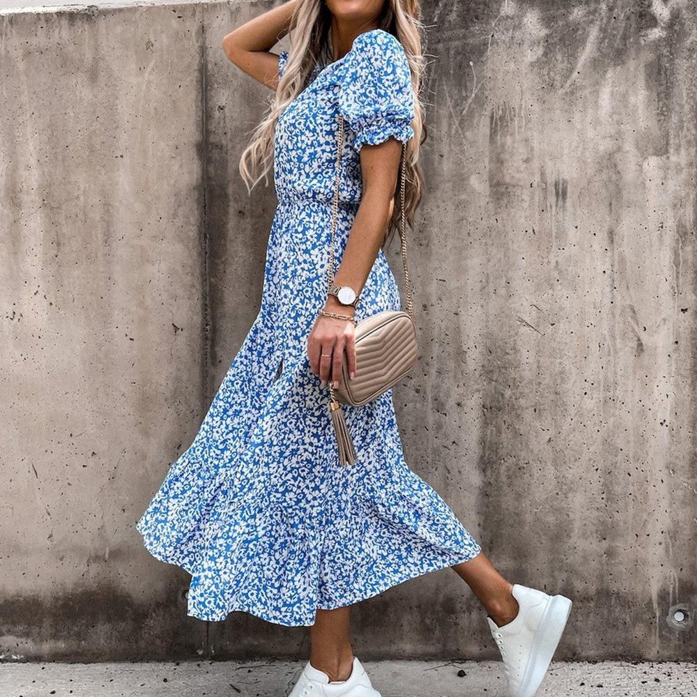2021 Spring Floral Print Slim Long Shirt Dress Women V-neck Button Split Party Dress Autumn Long Sleeve Elastic Waist Maxi Dress 5