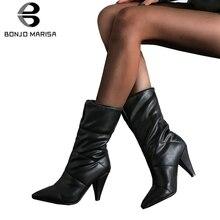 BONJOMARISA New Hot Sale 34-43 Winter Waterproof mid-calf Boots Women 2019 Office Lady Warm Fur High Heels Shoes Woman